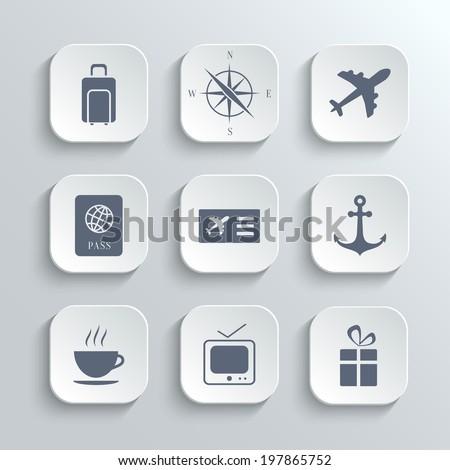 Travel Icons Set Vector White App Stock Vector 2018 197865752