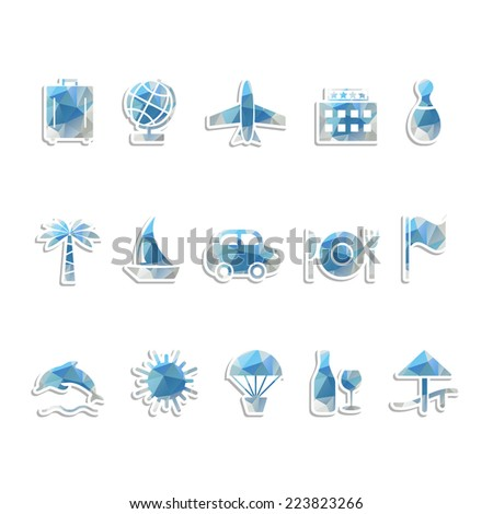 Travel icons set with triangles pattern. Vector illustration. - stock vector