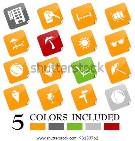 Travel icons - sticky series II - stock vector