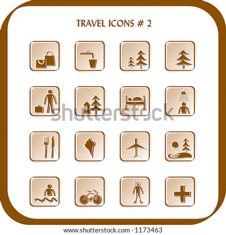 Travel icons 2 (vector) - stock vector