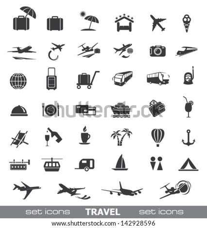 Travel Icons. Vector set. - stock vector