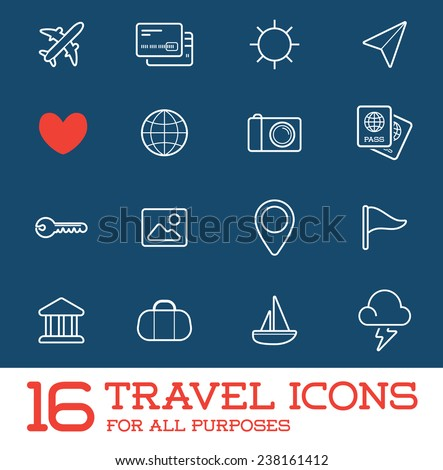 Travel Icons Vector Set, Great for All Purposes like Print Web or Mobile Apps - stock vector