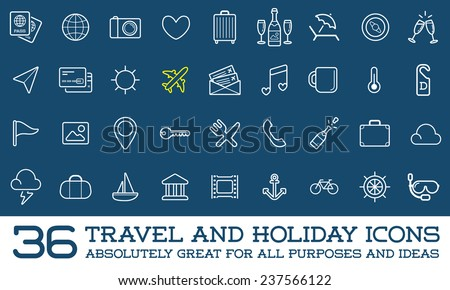 Travel Icons Vector Set, Great for All Purposes like Print Web or Mobile Apps Collection - stock vector