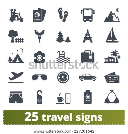 Travel icons: vector set of vacation and transport signs - stock vector