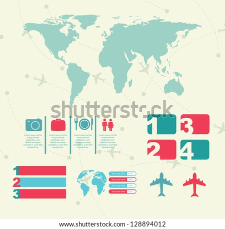 travel icons with infographics and map vector illustration - stock vector
