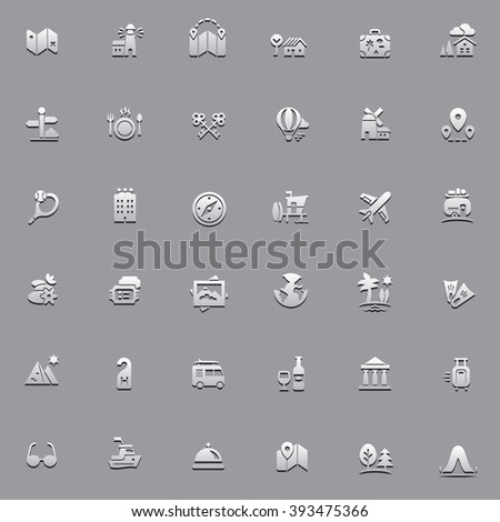Travel icons with shadows - stock vector