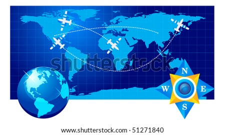Travel illustration plane on map - stock vector