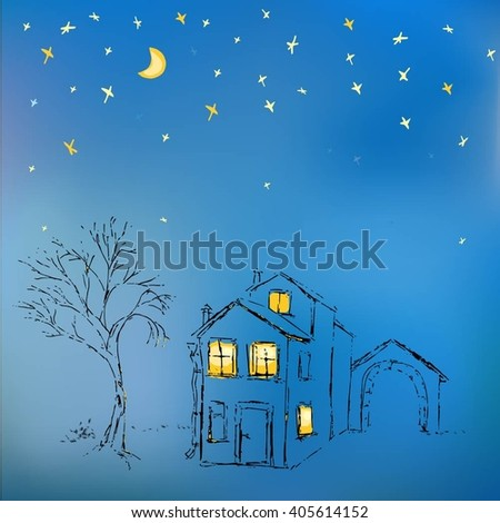 Travel illustration. Tourism, city travel. Night landscape. Background for postcards, Tree next to a vintage house in the night sky with the moon and stars. Lighted windows. - stock vector