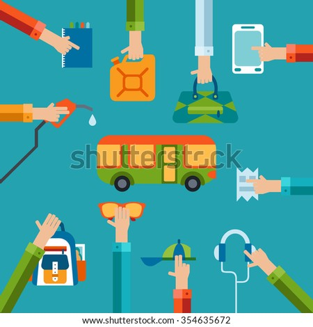 Travel illustration with hands holding bags and different objects - stock vector