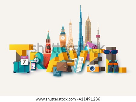 Travel illustration with lettering and architectural monuments. - stock vector