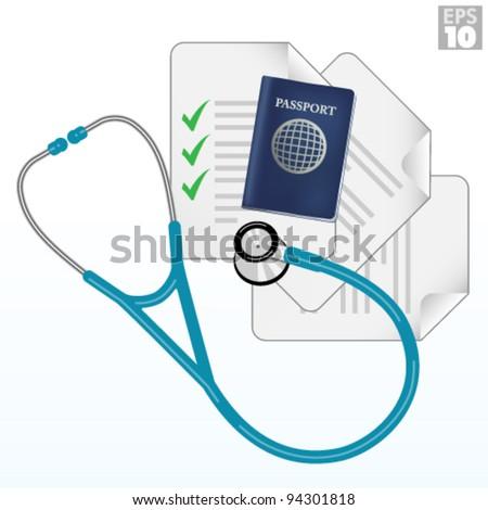 Travel immunization, vaccination checklist, passport, documents, stethoscope - stock vector