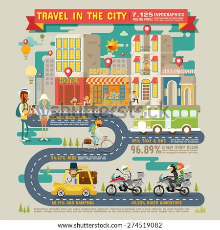 Travel in the City Infographics - stock vector