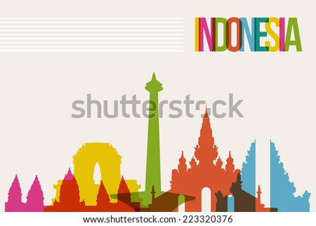 Travel Indonesia famous landmarks skyline multicolored design background. Transparency vector organized in layers for easy create your own website, brochure or marketing campaign. - stock vector