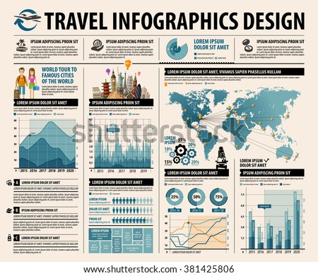 travel infographics design. set of graphs, diagrams and world map. vector illustration - stock vector
