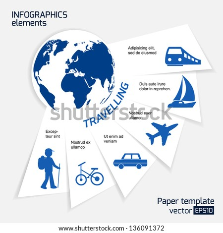 Travel infographics web design. Modern paper template. Numbered options. Vector illustration. - stock vector