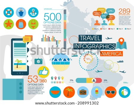 Travel infographics with data icons and elements, map of North and South America. Flat style - stock vector