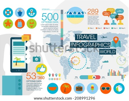 Travel infographics with data icons and elements, map of World. Flat style - stock vector