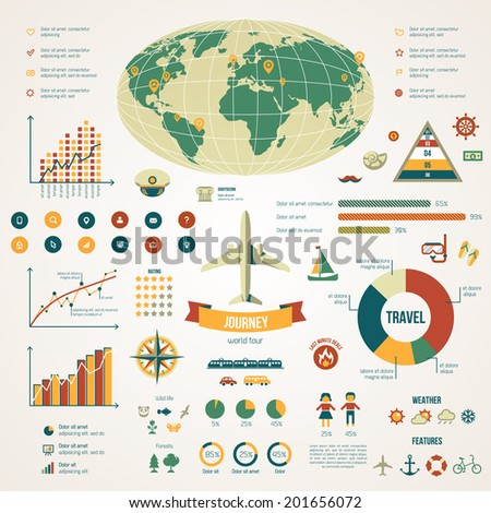 Travel infographics with data icons and elements. Vector illustration in vintage colors. Earth.  - stock vector