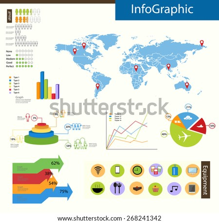 Travel infographics with equipment icons with world map vector set background - stock vector