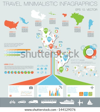 Travel infographics with Map of America, data icons and elements - stock vector