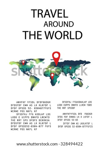 Travel Infographics World Map Mark Text Stock Vector - World map to mark travels