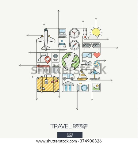 Travel integrated thin line symbols. Modern color vector concept, with connected flat design icons. Abstract background illustration for tourism, holiday, trip, summer, vacation concepts.
