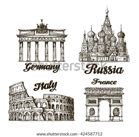 Travel, journey. Hand drawn sketch Berlin, Moscow, Rome, Paris. Famous buildings of the world. Vector illustration - stock vector