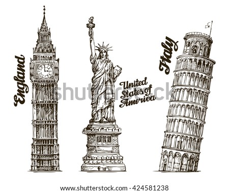 Hand Drawn Sketch England USA Italy Famous Buildings Of