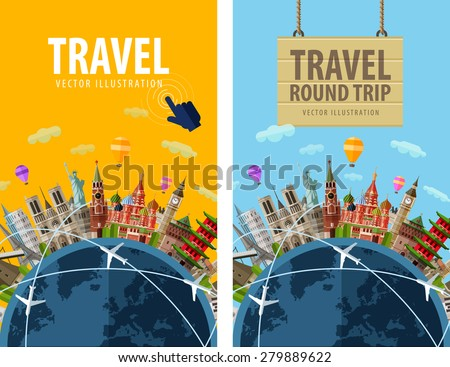travel, journey, trip vector logo design template. vacation or countries of the world icon. - stock vector