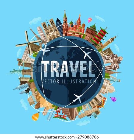 travel, journey vector logo design template. world map or rest icon. - stock vector