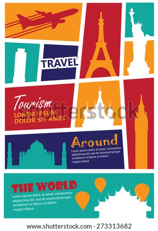 travel landmark background,Print size a4 - stock vector