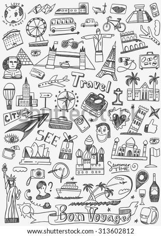 travel landmarks doodles icons set - stock vector