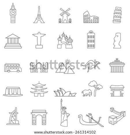 Travel landmarks line icon set - stock vector