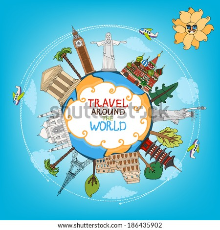 travel landmarks monuments around world with plane, sun and clouds vector eps10 illustration - stock vector