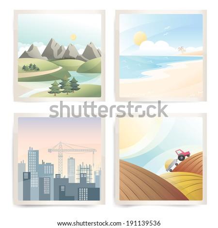 Travel landscapes - stock vector