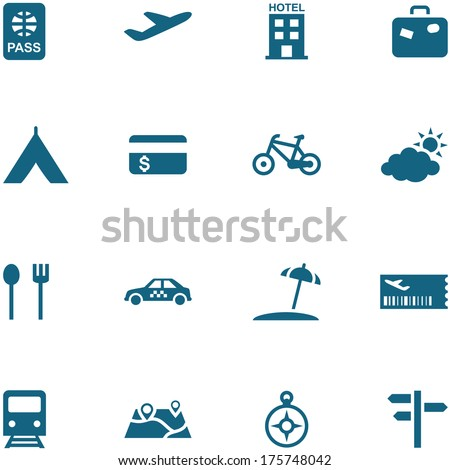 Travel, leisure and tourism icon set vector. All elements are on separate layers. The size and color of icons can be changed easily. - stock vector