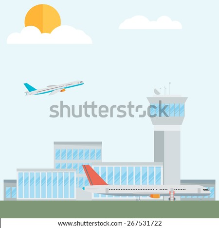 Travel Lifestyle Concept of Planning a Summer Vacation Tourism and Journey Symbol Airplane Airport City Modern Flat Design Icon Template Vector Illustration - stock vector