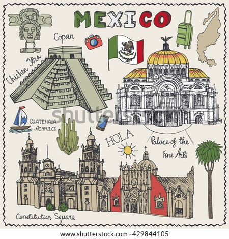 Travel Mexico Famous Landmarksvector Hand Drawn Stock Vector 429844105