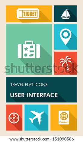 Travel mobile UI applications graphic user interface flat icons set. Vector layered for easy editing. - stock vector