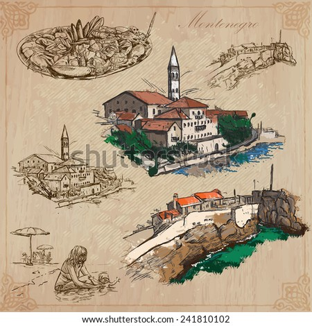 Travel: MONTENEGRO - Collection of an hand drawn vector illustrations. Each drawing comprise three layers of lines, the colored background is isolated. Easy editable in layers and groups. - stock vector