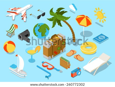 Travel objects icon set flat 3d isomectric modern design template. Airplane sunglasses palm umbrella passport suitcase ball beach chair wallet slippers cocktail yacht diving mask tube sun collection. - stock vector