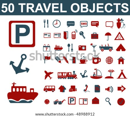 Travel Objects Set - stock vector
