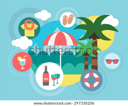 Travel on the Island vector illustration. Umbrella, Sea and Palm symbols. Stock design elements - stock vector