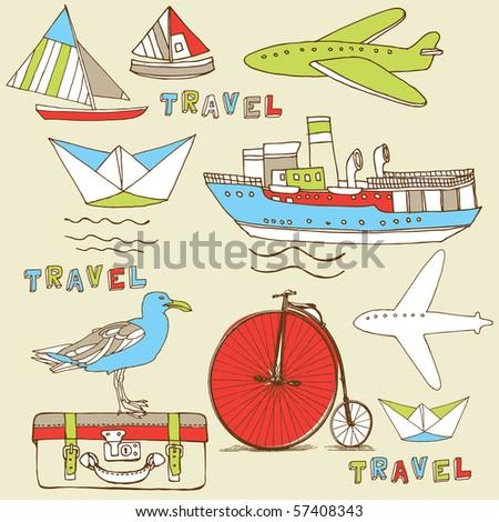 travel pattern - stock vector