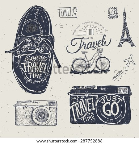 Travel photo label with retro camera and landmarks cards vector illustration - stock vector