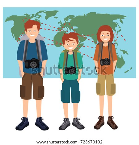 Travel photographers family three persons camera stock vector travel photographers family three persons with camera in front of world map vector illustration gumiabroncs Choice Image