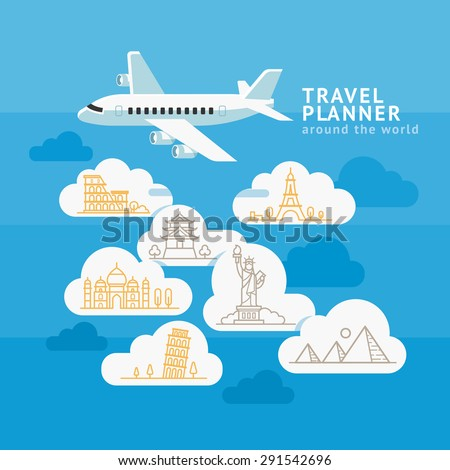 Travel Planner Around The World. Airplane with cloud and landmark icons. Vector illustration. - stock vector
