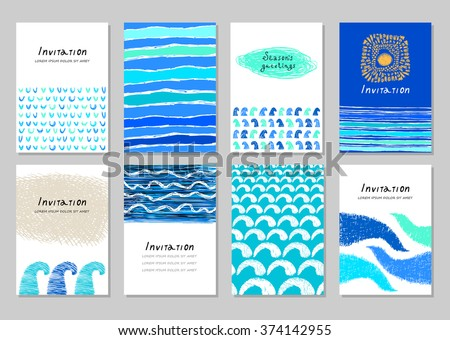 Travel Posters Set Summer Holidays Cards Design In Abstract Creative Style Hand Drawn