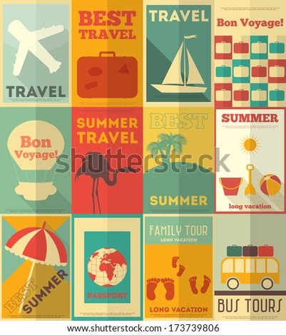 Travel Posters Set - Vacation Items in Retro Style - Flat Design Style. Vector Illustrations.  - stock vector