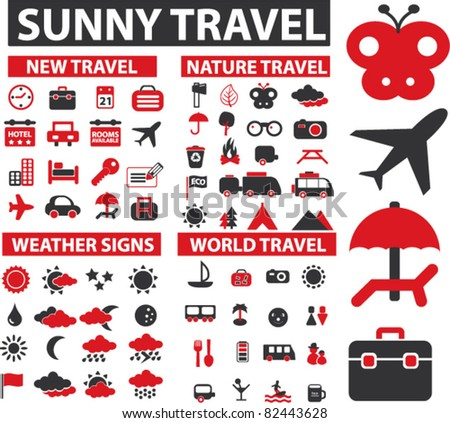 travel, recreation icons, signs, vector illustrations - stock vector